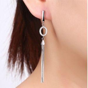 Silver-tone  Zircon Linear Tassel Drop Earrings